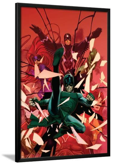 Inhumanity #1 Cover: Black Bolt, Karnak, Medusa, Crystal, Triton, Gorgon-Olivier Coipel-Lamina Framed Poster
