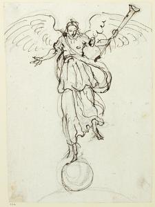 Fame, Preliminary Sketch, C.1631 by Inigo Jones