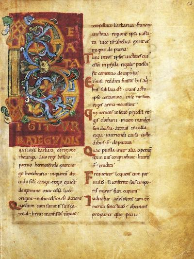 Initial Capital Letter B Adorned, Miniature from Life of Saint Radegunda, Manuscript--Giclee Print