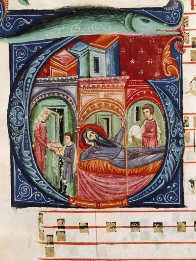Initial Capital Letter G Depicting a Biblical Scene--Giclee Print