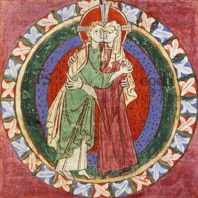 Initial Capital Letter 'O' Depicting Christ Embracing His Church, Miniature from French Gospel--Giclee Print