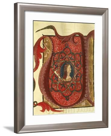 Initial Capital Letter U Depicting the Figure of a Lady, Miniature from a Medieval Manuscript--Framed Giclee Print