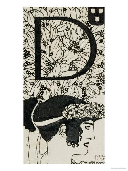 Initial D, Used in the Third Issue of Ver Sacrum, Austria, 1898-Gustav Klimt-Giclee Print