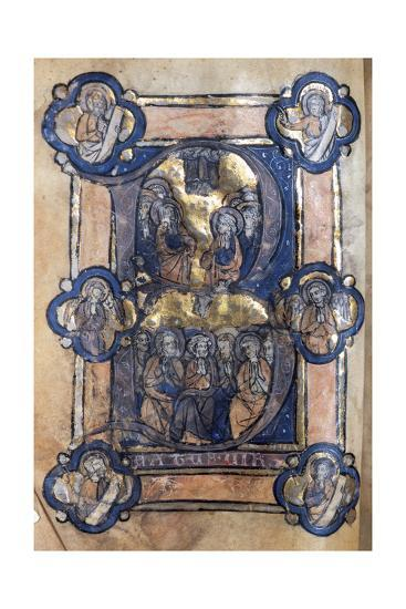 Initial Decorated with Ascension of Jesus and Descent of the Holy Spirit on the Apostles--Giclee Print