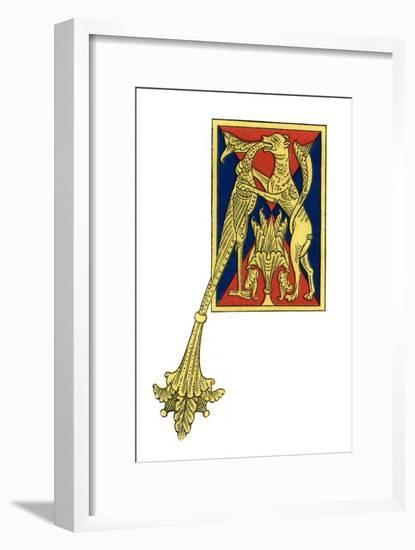 Initial Letter A, 12th Century-Henry Shaw-Framed Giclee Print