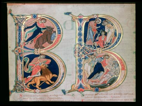 Initial Letter B Beatus Vir - Blessed is the Man, from the Winchester Bible, c.1150-80--Giclee Print