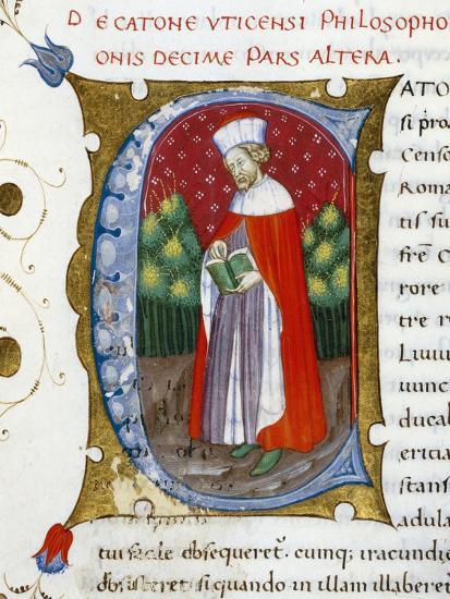 Initial Letter C Depicting Marcus Porcius Cato Uticensis, Cato the Younger-Pietro Candido Decembrio-Giclee Print