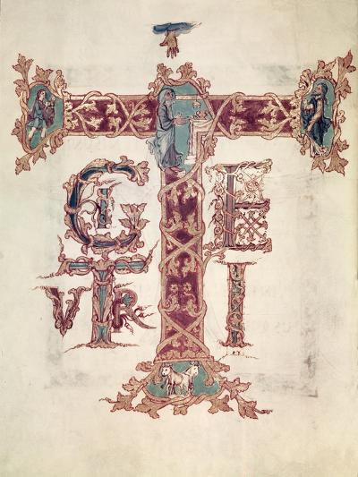 Initial T, the Ascension of Christ, from the Drogo Sacramentary, Carolingian--Giclee Print