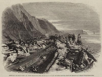 Injury Occasioned by the Gale of 25 October to a Portion of the South Devon Railway Near Teignmouth--Giclee Print