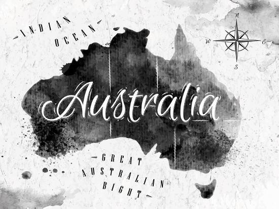 Australia Map Art.Ink Australia Map Art Print By Anna42f Art Com
