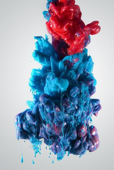 Ink Color Drop, Blue and Red-sanjanjam-Photographic Print