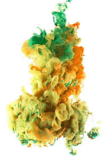 Ink Color Drop, Yellow Orange Green-sanjanjam-Photographic Print