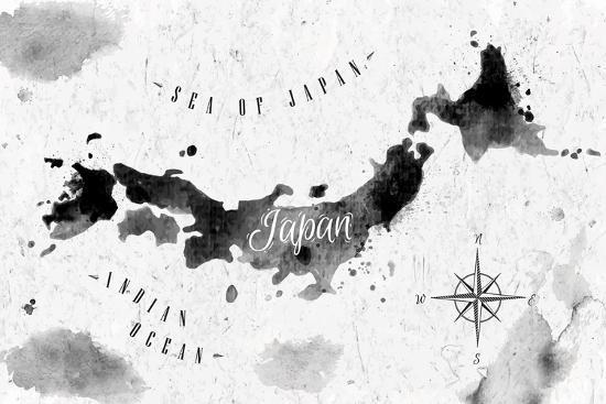 Ink Japan Map-anna42f-Art Print