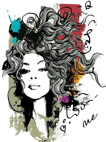 Ink Print with Girl and Decorative Hair for T-Shirt-A Frants-Art Print