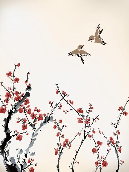 Ink Winter Sweet-baoyan-Art Print