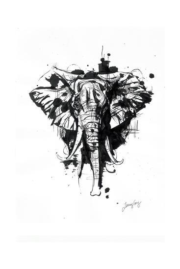 Inked Elephant-James Grey-Art Print