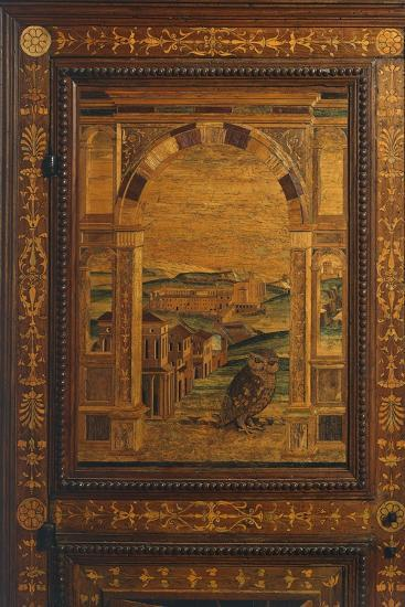 Inlay Depicting View of City, Detail from Walnut Cabinet, Ca 1500, Italy, 16th Century--Giclee Print