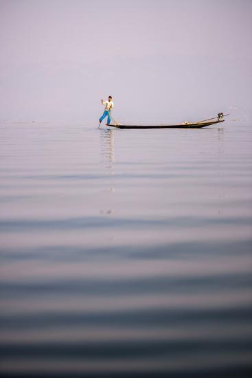 Inle Lake Fisherman (Intha Fisherman), Near Nyaungshwe, Shan State, Myanmar (Burma), Asia-Matthew Williams-Ellis-Photographic Print