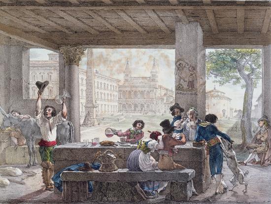 Inn in Rome, Engraved by Francois Alexandre Villain (1798-1884) C.1820-30-Antoine Jean-Baptiste Thomas-Giclee Print