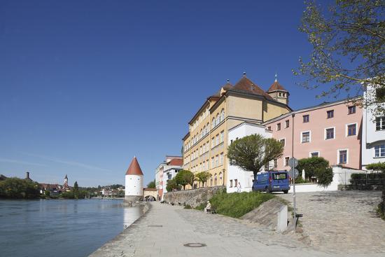 Inn (river) with Schaiblingsturm, Old Town, Passau, Lower Bavaria, Bavaria, Germany, Europe,-Torsten Krüger-Photographic Print