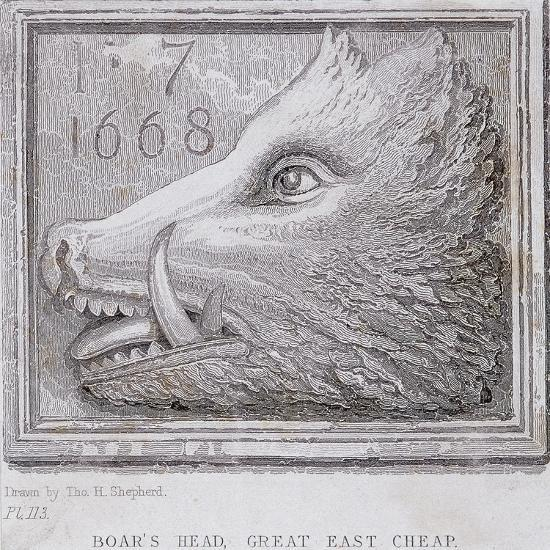 Inn Sign from the Boar's Head Tavern, Eastcheap, London, 1850-Thomas Hosmer Shepherd-Giclee Print