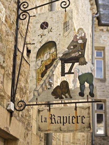 Inn Sign in the Old Town, Bayeux, Calvados, Normandy, France, Europe-Guy Thouvenin-Photographic Print