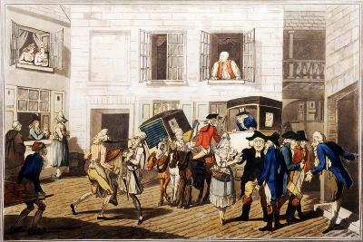 Inn Yard at Calais, Pub. by William Holland, London, 1790 (Hand-Coloured Aquatint)-Frederick George Byron-Giclee Print