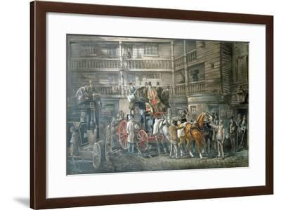 Inn Yard with Mail Coach Preparing to Leave, C1840--Framed Giclee Print