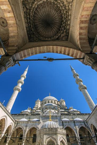Inner Courtyard Low Angle View of Yeni Cami or New Mosque, Istanbul, Turkey-Stefano Politi Markovina-Photographic Print