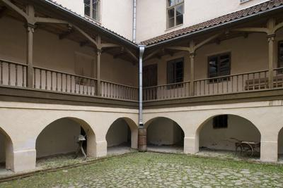 Inner Courtyard of Bishop's Castle (Founded in 13th Century) in Edole--Photographic Print