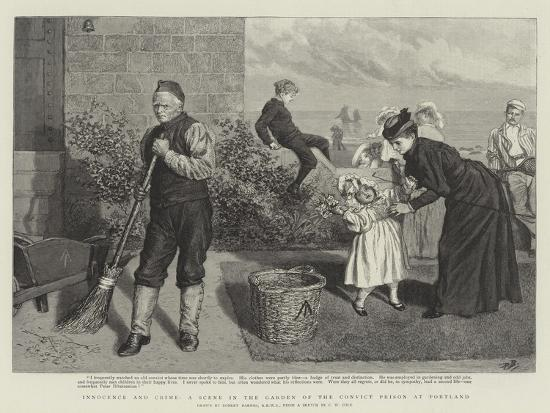 Innocence and Crime, a Scene in the Garden of the Convict Prison at Portland-Robert Barnes-Giclee Print