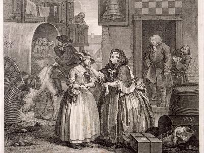 Innocence Betrayed, or the Journey to London, Plate I of the Harlot's Progress, 1732-William Hogarth-Giclee Print