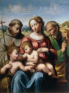 Holy Family with St. Francis and Young St. John, Conserved at the Galleria Estense in Modena by Innocenzo da Imola
