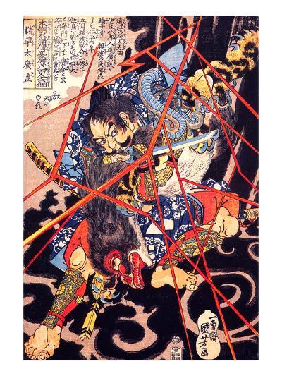 Ino Hayata Hironao Grappling with the Monster-Kuniyoshi Utagawa-Giclee Print