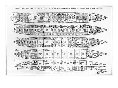 Inquiry in the Loss of the Titanic: Cross Sections of the Ship (Engraving) (B/W Photo)-English-Premium Giclee Print