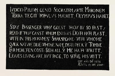 Inscription on the Memorial Tablet to Shakespeare, Holy Trinity Church, Stratford-On-Avon, 1888--Giclee Print