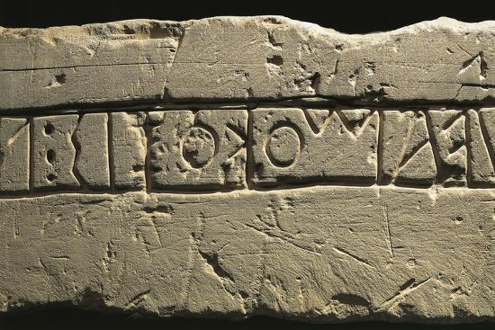 Inscription with Dedication to Deities, Detail of Celtic Alphabet, from Prestino, Como Province--Giclee Print