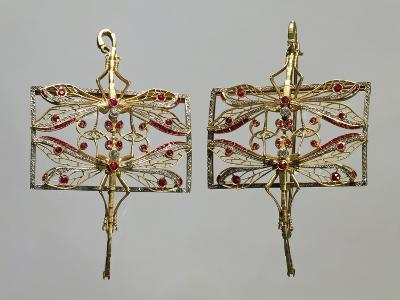 Insect-Shaped Gold Brooches Set with Rubies and Diamonds.--Giclee Print