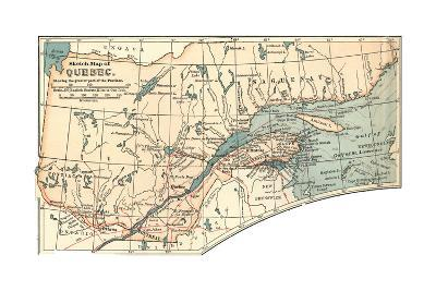 Inset Map of a Sketch Map of Quebec, Showing the Greater Part of the Province. Canada-Encyclopaedia Britannica-Giclee Print
