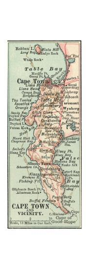 Inset Map of Cape Town and Vicinity. South Africa-Encyclopaedia Britannica-Giclee Print