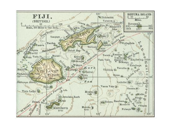 Inset Map of Fiji Islands (British). South Pacific. Oceania-Encyclopaedia Britannica-Giclee Print