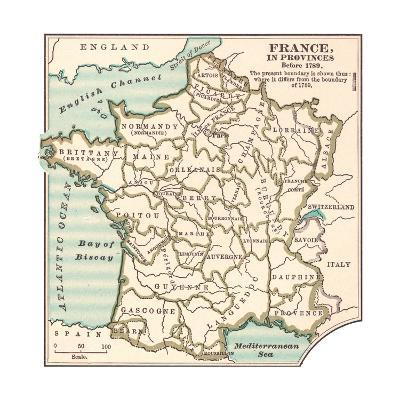 Inset Map of France in Provinces before 1789-Encyclopaedia Britannica-Giclee Print