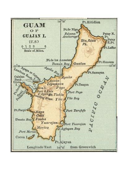 Inset Map of Guam or Guajan Island (Us) Giclee Print by Encyclopaedia  Britannica | Art com