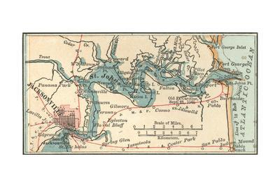 picture regarding Printable Map of Jacksonville Fl named Inset Map of Jacksonville, Florida Giclee Print by way of Encyclopaedia Britannica