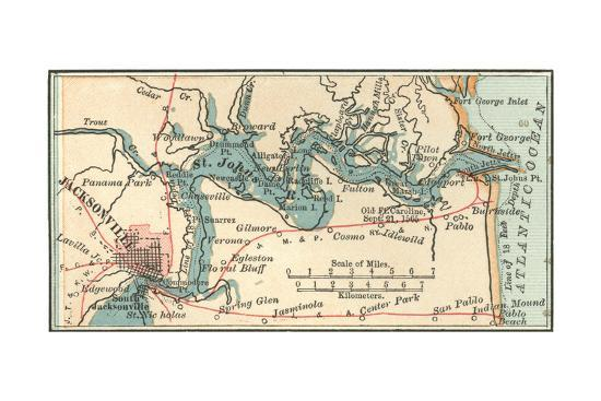 Inset Map of Jacksonville, Florida Giclee Print by Encyclopaedia Britannica  | Art.com