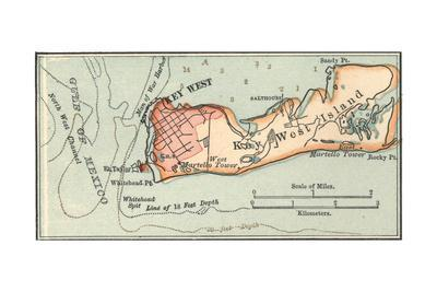 graphic about Printable Map of Key West called Inset Map of Solution West Island, Florida Giclee Print by means of Encyclopaedia Britannica