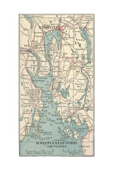 Inset Map of Kristianiafjord and Vicinity. Kristiania, Norway-Encyclopaedia Britannica-Giclee Print