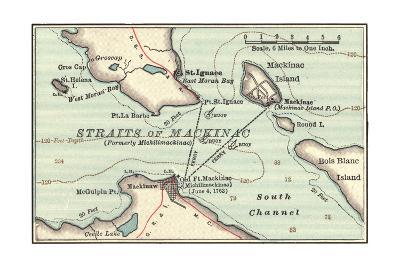 Inset Map of Mackinac Island and the Straits of Mackinac, Michigan-Encyclopaedia Britannica-Giclee Print