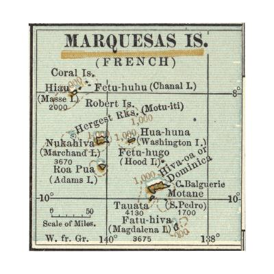 Inset Map of Marquesas Islands (French). Oceania. South Pacific-Encyclopaedia Britannica-Giclee Print