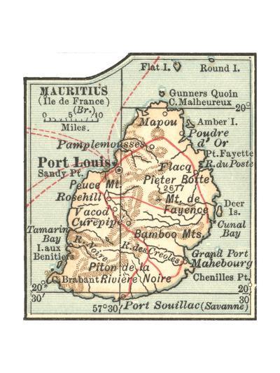 Inset Map of Mauritius (Ile De France) (British)-Encyclopaedia Britannica-Giclee Print